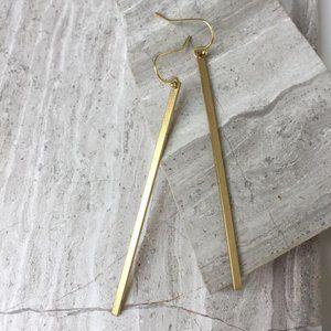 14K gold/ Ster. Silver Long brass bar Earrings